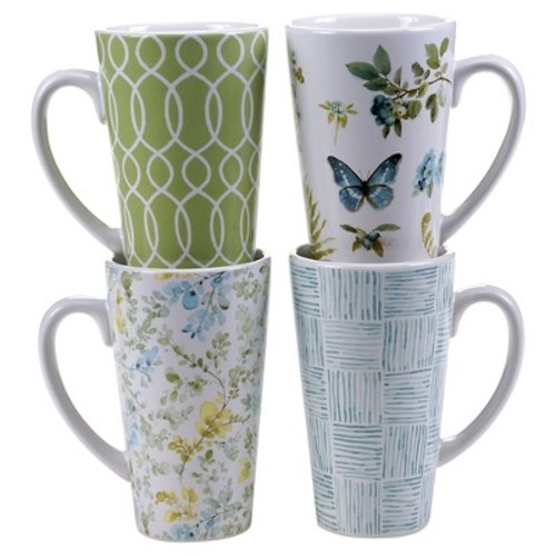 Certified International The Greenhouse Set of 4 Latte Mug (patterns) 16 oz. Assorted