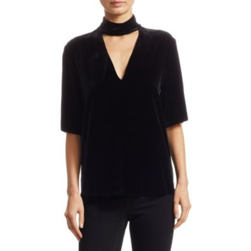 THEORY Slit Collar V-Neck Top