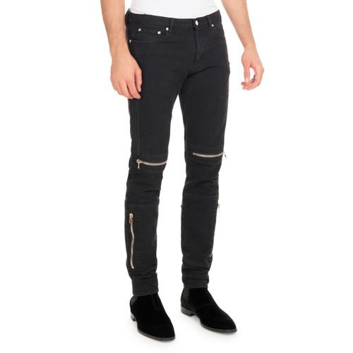 Distressed Denim Biker Skinny Jeans, Black