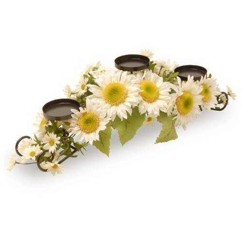 Spring Daisies 3-Candle Holder Black - National Tree Company