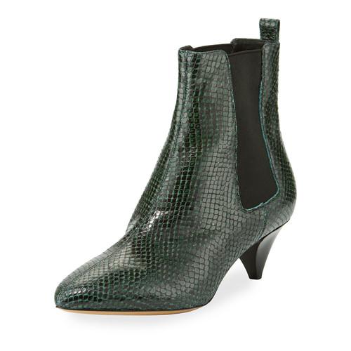 ISABEL MARANT Dawell Low-Heel Chelsea Boot, Green