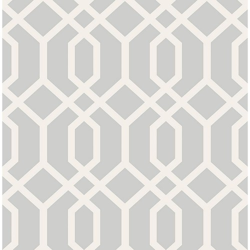Brewster Trellis Grey Montauk Wallpaper Sample