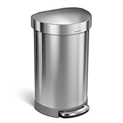 simplehuman Semi-Round Step Trash Can with Liner Rim, Stainless Steel, 45 Liter / 12 Gallon [45 L (12 Gal)]