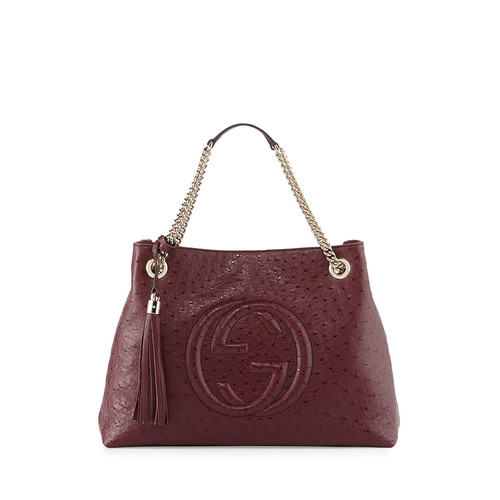 GUCCI Soho Ostrich Shoulder Bag, Burgundy