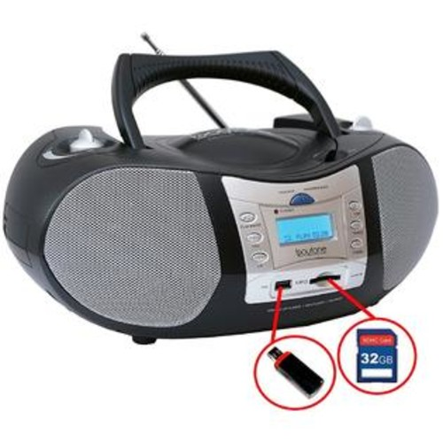 Boytone BT-6B CD Boombox Black Edition Portable Music System with CD Player & USB/SD/MMC Slot, Digital FM Radio with Aux