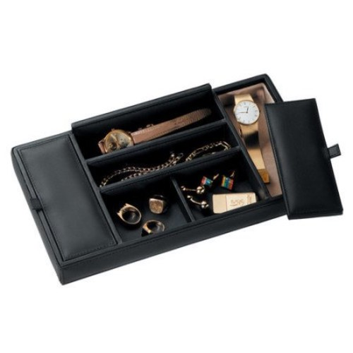 Royce Leather Luxury Genuine Leather Valet Dresser Tray for Jewelry Storage