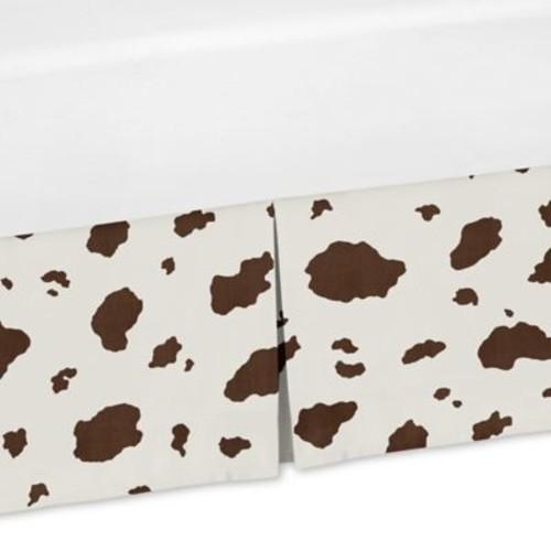 Sweet Jojo Designs Wild West Cow Print Crib Skirt in Brown/White