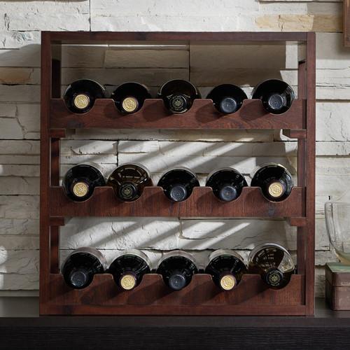 Furniture of America Stacie Rustic Vintage Walnut 15-bottle Wine Rack