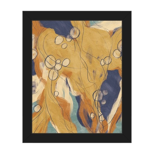 Heart Strings Orange & Blue Framed Canvas Wall Art