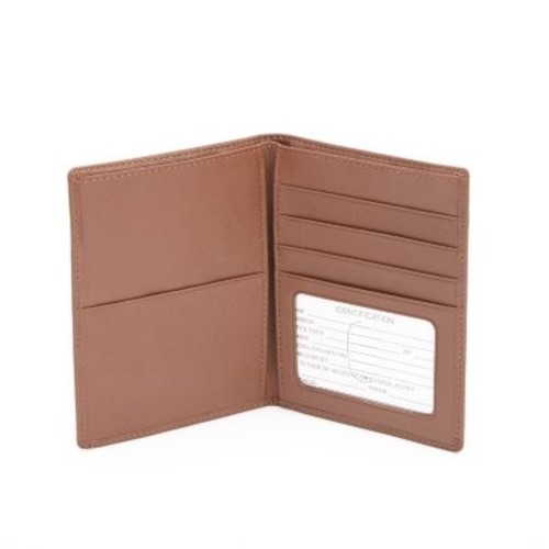 Men's Royce Leather Passport and Currency Wallet [Tan, One Size]