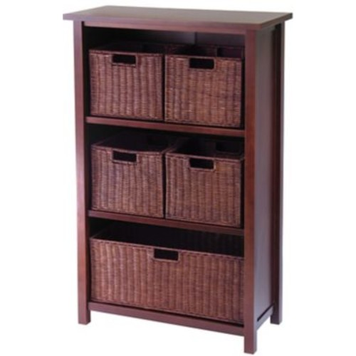 Winsome Milan Wood 6-Pc Cabinet/Shelf With 4 Small and 1 Large Rattan Baskets, Antique Walnut