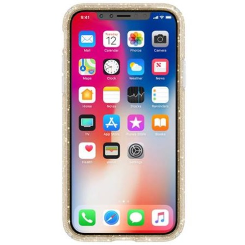 Speck Presidio Clear + Glitter Case for iPhone X, Clear with Gold Glitter/Clear