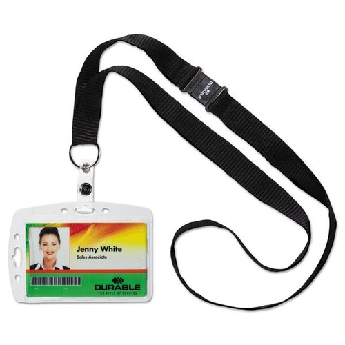 Durable Shell-Style ID Card Holder Vertical/Horizontal With Necklace Clear 10/Pack - Clear