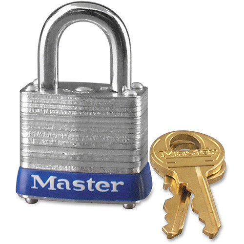 Master Lock Company 4-Pin Tumbler Padlock, w/Key, 1-1/8