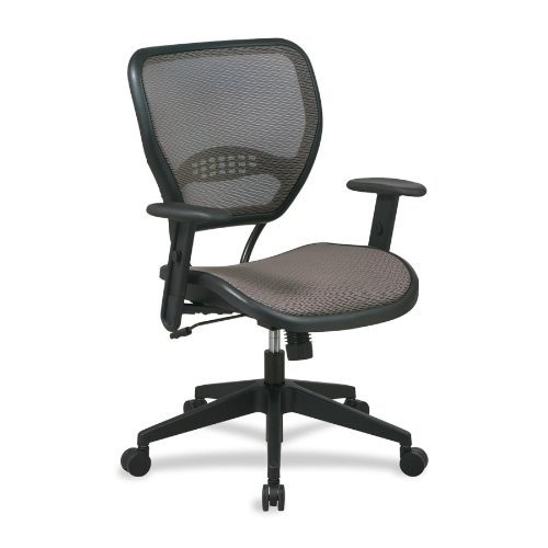 SPACE Seating AirGrid Latte Back and Mesh Seat, 2-to-1 Synchro Tilt Control, Adjustable Arms and Tilt Tension Nylon Base Managers Chair [Latte AirGrid Seat]