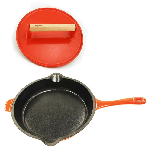 Neo Cast Iron 2pc Set, F/P & Stk Press, Orange