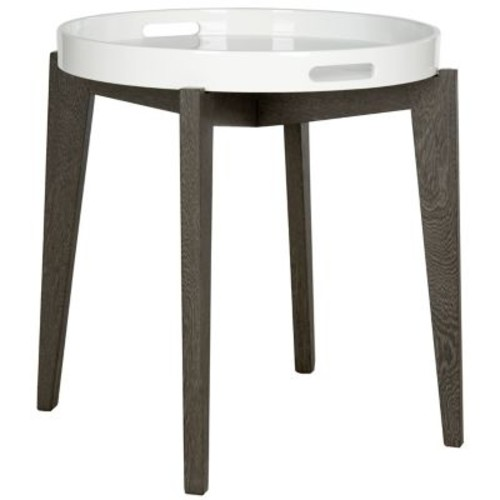Ben Lacquer Side Table in White/Brown