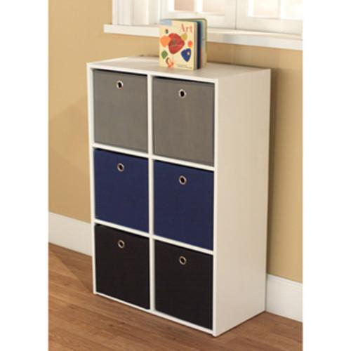 Simple Living 'Jolie' White Bookcase with Six Fabric Bins [Finish : Black Finish/Grey Finish/Pink Finish]