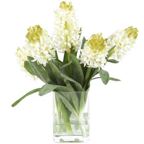 Distinctive Designs Waterlook Silk Hyacinths in Square Vase