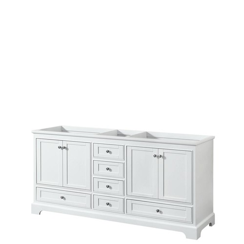 Wyndham Collection Deborah 71 in. W x 21.5 in. D Vanity Cabinet in White