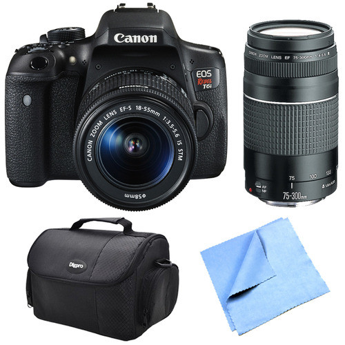 Canon EOS Rebel T6i Digital SLR Camera w/ EF-S 18-55mm IS STM and 75-300mm Lens Bundle