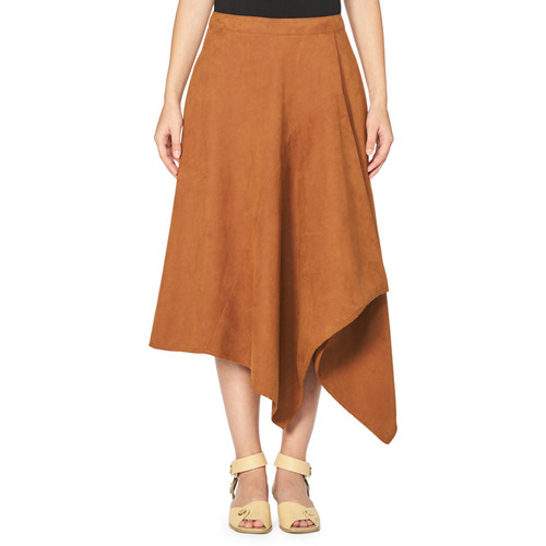 STELLA MCCARTNEY Asymmetric Faux-Suede Midi Skirt, Brown