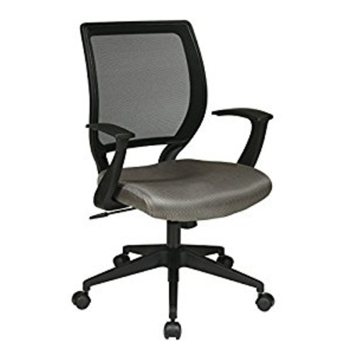 Office Star Woven Mesh Back Task Chair with Fixed Arms and Padded Mesh Seat, Grey [Grey]