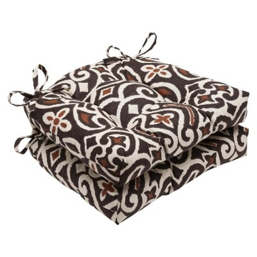 Pillow Perfect New Damask Reversible Chair Pads - Set of 2 - Brown