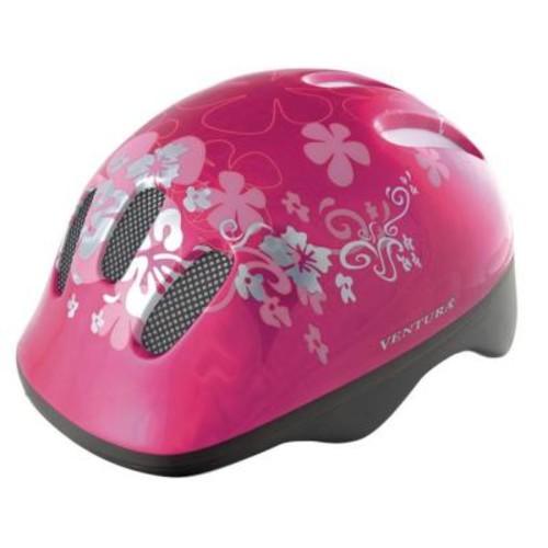 Ventura Pink Flower Children's Bicycle Helmet
