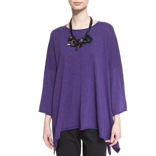 ESKANDAR Bateau-Neck Bracelet-Sleeve Cashmere Sweater, Amethyst