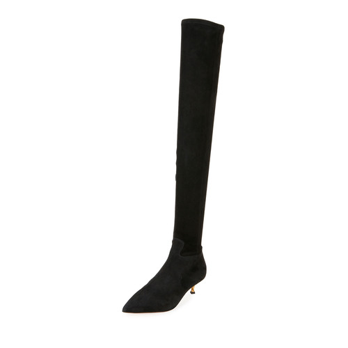 VALENTINO Over-The-Knee Stretch-Suede Boot