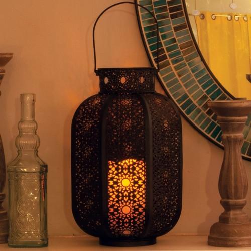 Cadiz LED Candle Lantern - Brown