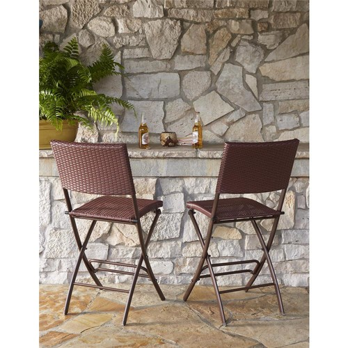 Cosco Delray Transitional Steel Brown & Red Woven Wicker High Top Folding Patio Bistro (Set of 2)