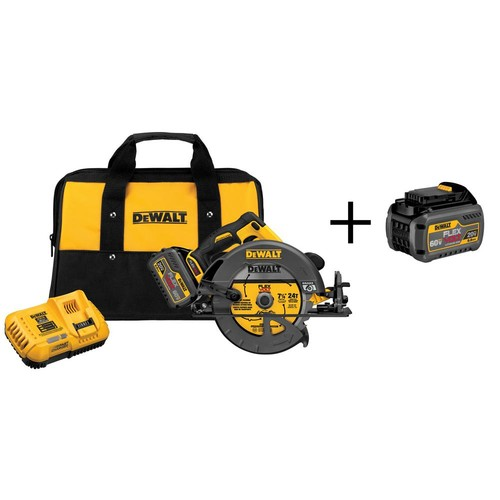 DEWALT FLEXVOLT 60-Volt Lithium-Ion Cordless Brushless 7-1/4 in. Circular Saw with Bonus FLEXVOLT Battery Pack