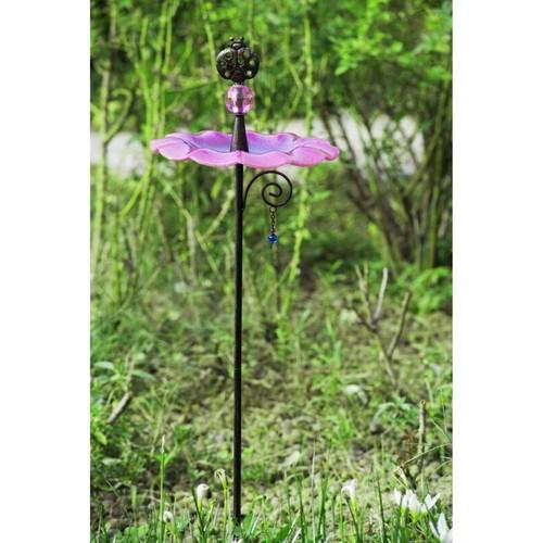 Sunjoy 110309032 Glass Pink Bird Feeder Garden Stake