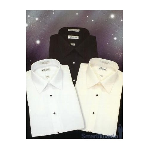 MicroFibre - Laydown Collar Tuxedo Shirt, Choice of Colors! [Ivory, 17