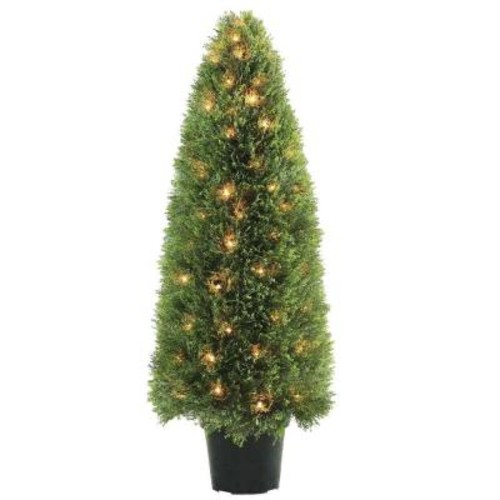 National Tree Company 48 in. Upright Juniper Tree with Green Round Growers Pot with 100 Clear Lights