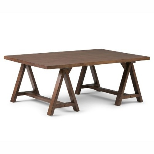 Sawhorse Coffee Table Medium Saddle Brown - Simpli Home