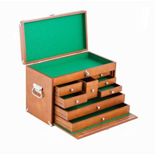 Trinity 21 in. 8-Drawer Wood Tool Box, Brown
