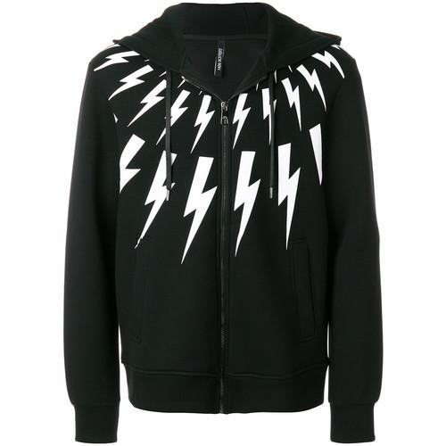 lightning print zip hoodie