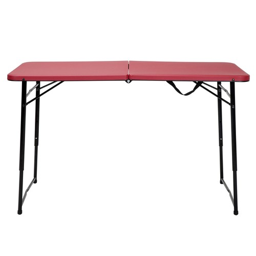 Cosco Home and Office Products 4 ft.Red Adjustable Height Center Fold Tailgate Table with Carrying Handle