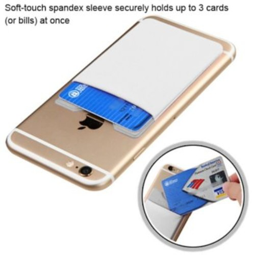 Insten 3M Adhesive Card Pouch Sticker Credit Card Holder Sleeve Cover Universal Mobile Phone - White
