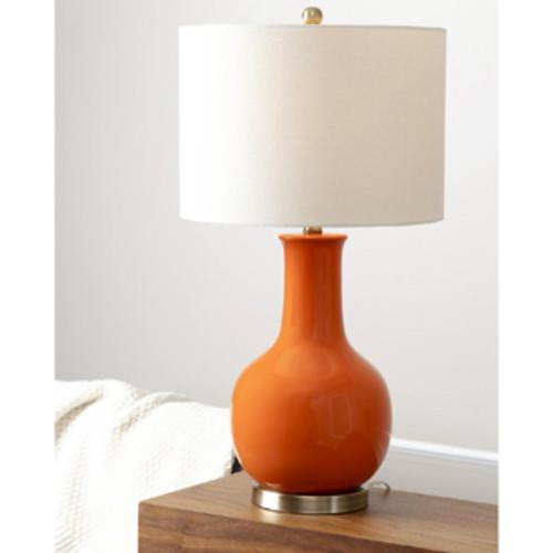 Safavieh Lighting 24-inch Amy Gourd Glass Orange Table Lamp (Set of 2)