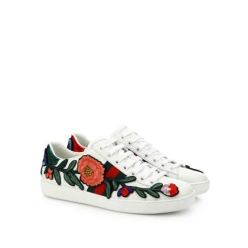Ace Floral-Embroidered Leather Low-Top Sneakers