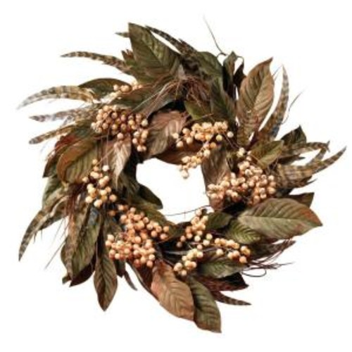 Nearly Natural 24 In. Berry and Feather Wreath