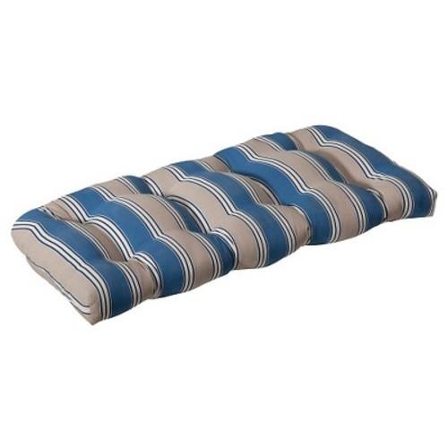 Outdoor Wicker Bench/Loveseat/Swing Cushion - Blue/Beige Stripe