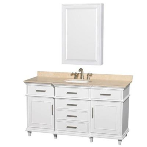 Wyndham Collection Berkeley 60 in. Vanity in White with Marble Vanity Top in Ivory, Undermount Round Sink and Medicine Cabinet