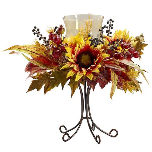 Nearly Natural Seasonal Decor Autumn Sunflower Candelabrum