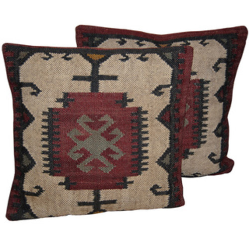 Hacienda Tribal Jute and Wool 18-inch Throw Pillow [option : Red]