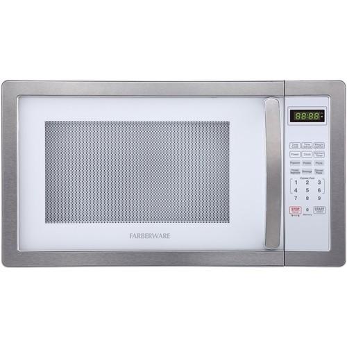 Farberware - Classic 1.1 Cu. Ft. Mid-Size Microwave - Platinum white
